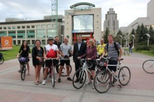 Mayor & us at Ride of Silence - advocating for safe cycling