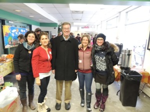 Winter Carnival Organizers Geri Blinick, Christine Aubry and Catherine Fortin-LeFaivre flank Mayor Jim Watson with Sandy Hill Seen's Jennifer Cavanagh